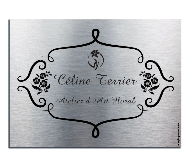 Plaque de porte personnalis e alu bross plaque de porte for Plaque de porte decorative